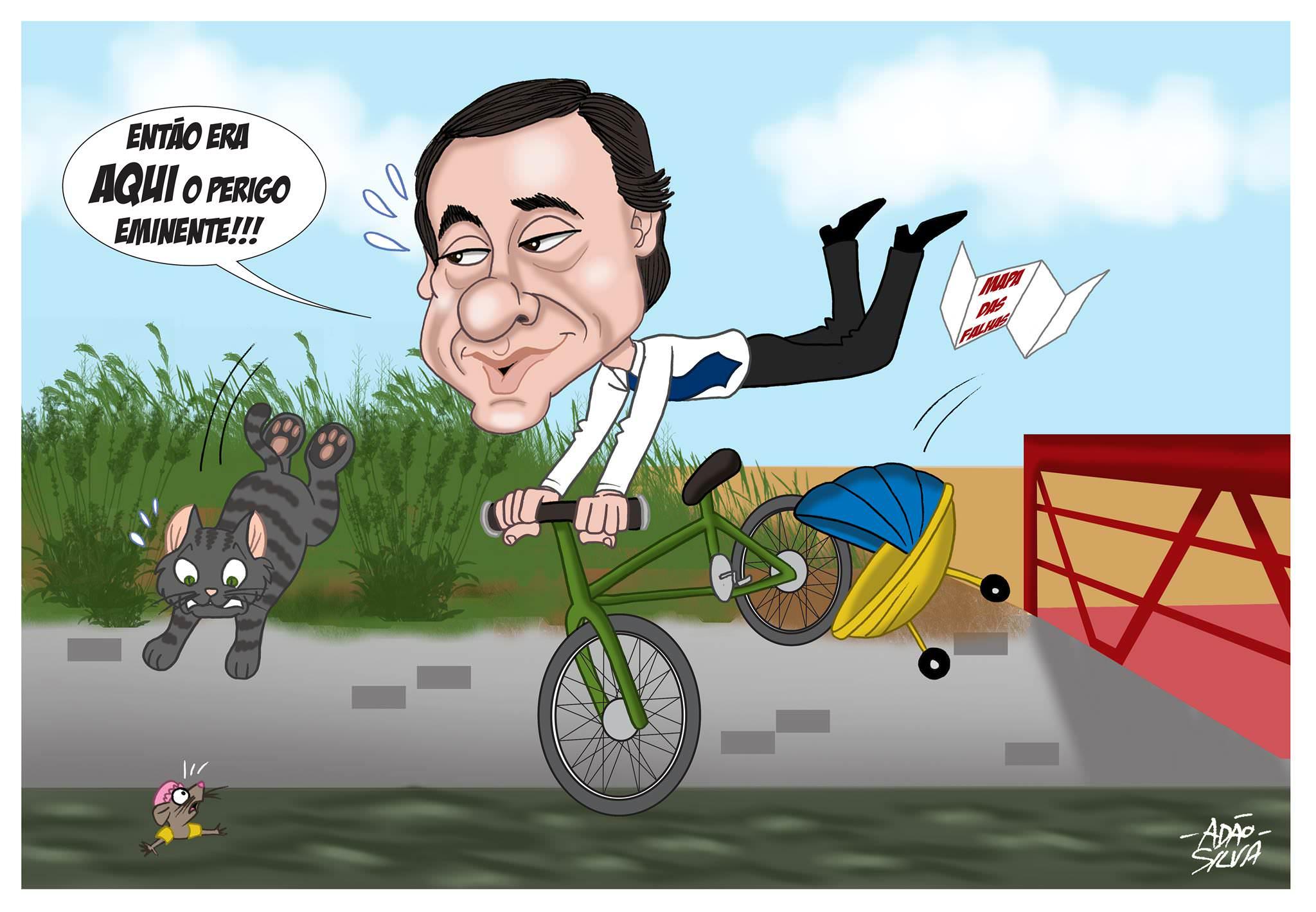 Ciclocartoon de Adão Silva: Perigo na ciclovia do Rio Este