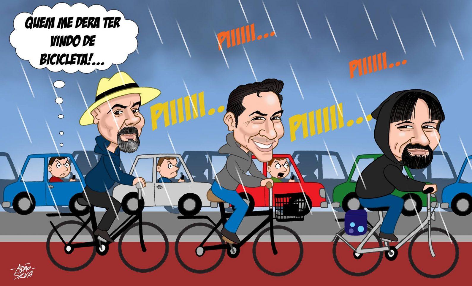 Ciclocartoon de Adão Silva-Faça chuva ou faça sol, sempre a pedalar!