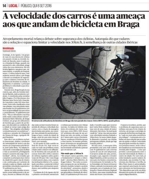Reportagem no jornal Público sobre o excesso e velocidade e atropelamentos a ciclistas em Braga