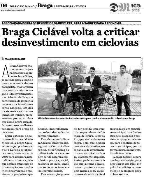 """""""Braga Ciclável volta a criticar desinvestimento em ciclovias"""""""