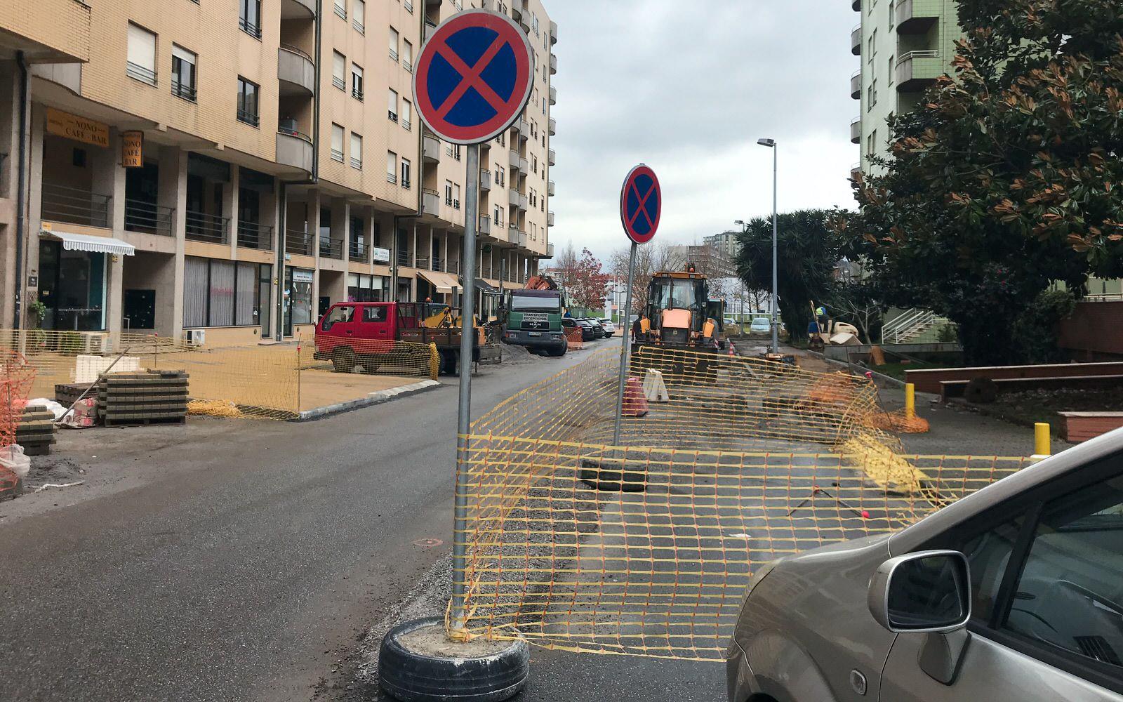 Rua com obras em Braga